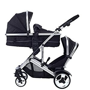 Kids Kargo Duel Combo Tandem Double Pushchair Stroller With One Footmuff, Midnight Black   5