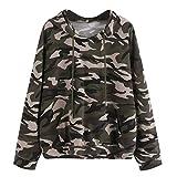 iHENGH Vorweihnachtliche Karnevalsaktion Damen Langarm Tarnungs Sweatshirt der Art und Weisefrauen beiläufiger Blusen Pullover(S,Armeegrün)