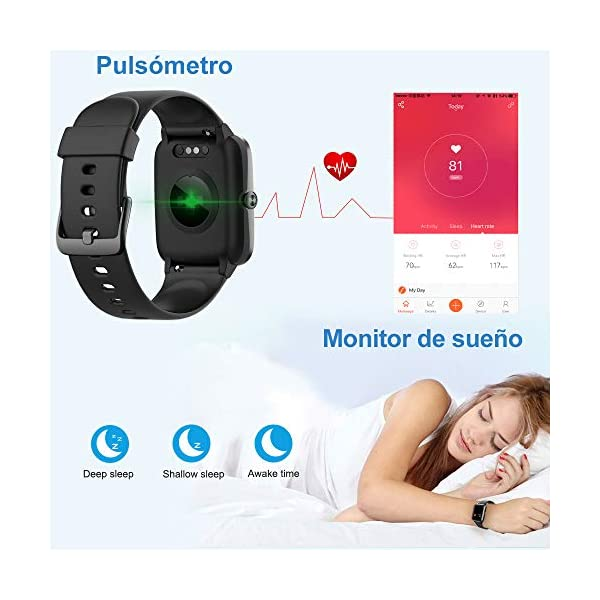 Willful Smartwatch,Reloj Inteligente con Pulsómetro,Cronómetros,Calorías,Monitor de Sueño,Podómetro Pulsera Actividad Inteligente Impermeable IP68 Smartwatch Hombre Reloj Deportivo para Android iOS 3