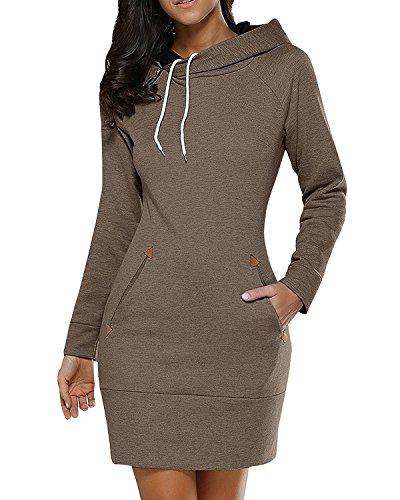 BIUBIU Damen Mode Hoodie mit Zip Langarm Pullover Jumper Pulli Sweatshirt Jumper Kaffee DE 38 / Herstellergröße L (Kaffee-hoodie)
