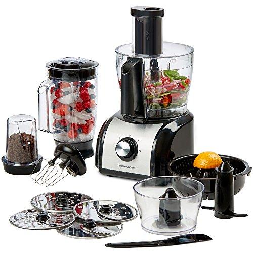 Andrew-James-800W-Multifunktionale-Kchenmaschine-Mehr-als-10-verschiedene-Zubehre-Inkl-Plastikblender-Zitruspresse-Kaffee-und-Nussmhle-und-mehr-2-Jahre-Garantie