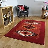 The Rug House Milan Traditioneller Läufer Teppich mit Azteken Rautenmuster für das Wohnzimmer in Rot, Terrakotta, Braun & Weißgrau 60cm x 240cm