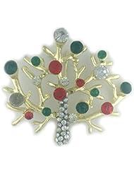 * Reino Unido * Árbol de Navidad de rama de color Dorado Broche con piedras de colores Bolas Bisutería secreto Santa