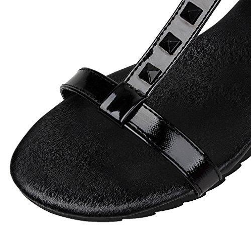 YE Damen Flache T Strap Sandalen Offen mit Riemchen und Nieten Bequem Schuhe Schwarz