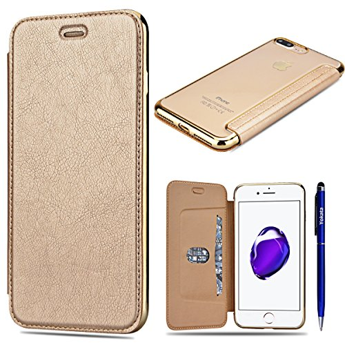Für iPhone 7, Yokata Luxury Flip Folio Lederhülle Leder Tasche Puro Farbe Design Case Sehr Dünn Cover Hülle PU mit Transparent Weich TPU Silikon Soft Backcover Shell - Rose Gold Gold