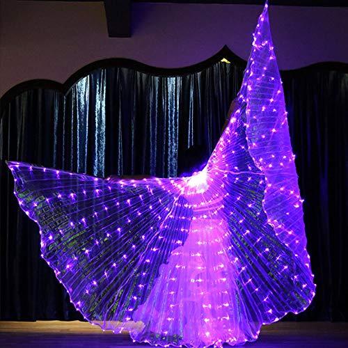 Glow Stick Licht Kostüm - CPDZ Bauchtanzschmetterling Fairy Wing Glow Light Rods-Wings 316 LED Luminous Up Stage Performance Eröffnung für Tanzbedarf Requisiten Maskeradekarneval,Purple