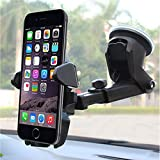 Techtest Universal Car Mount Holder For IPhone, Long Neck One Touch Car Mount Holder For IPhone X 8 7 7s 6s Plus 6s 5s 5c Samsung Galaxy S8 Edge S7 S6 Note 5 Car Stand And More (Black) Car Mount For Cell Phone Magnet Iphone 8 Plus 7 X A Phonecar Cradles &