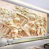 REAGONE decoración de pared Estilo Europeo 3D Escultura Religiosa De Pared Encargo De La Foto Del Papel Pintado En El Papel De Pared 3D De Pared De La Sala Vt Contexto Del Sofá, 430X300 Cm (169,3 Por 118,1 En)
