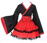 M 3131Rosso Nero WA di Qi Lolita Giappone Kimono Cosplay Costume Costume Kawaii-Story
