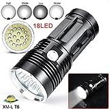 Fuibo [Taschenlampe Handlampe] 45000LM 18 x XM-L T6 LED 4 Modi Taschenlampe 4 x 18650 Jagd Lampe für Outdoor, Camping, Wandern,Notfälle, usw.