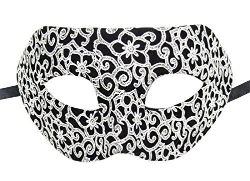 Herren Maskerade Maske Flanell Antiquität Retro Venezianisch Party Ball Römisch Halloween Mardi Gras Karneval Maske (Silber Antique Blumen)
