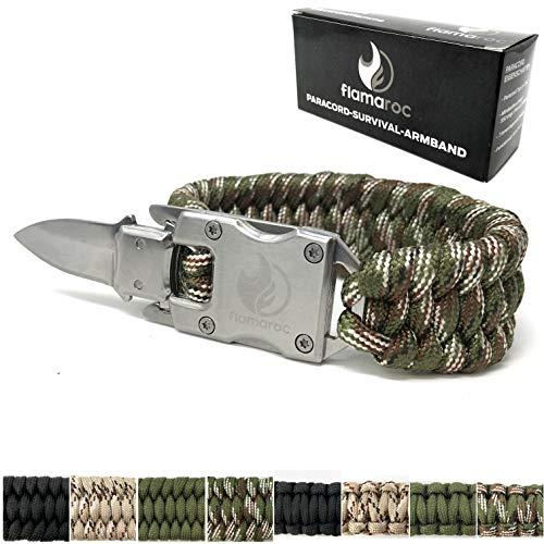 flamaroc® Blade - Premium Survival Armband extrabreit - Edelstahl Verschluss mit Messer - Paracord 550 Armband - Farbe Tarn grün, extrabreit