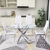 GOLDFAN Ensemble de salle à manger Élégant Un verre Table à manger et 4 chaises Ensemble de table de cuisine avec Quatre sièg