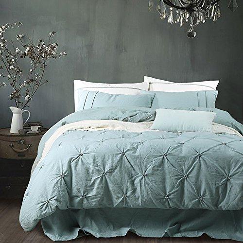 uxiefil Reine Farbe Einfache Bettwäsche 4 Sets warme atmungsaktive Leinen 1.8 M Bett Quilt Cover...
