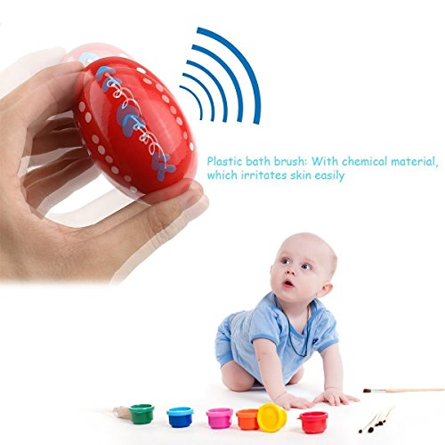 Tougo [Upgraded Version] Set of 6 Wooden Egg Shaker Set Percussion Musical Maracas Eggs Child Kids Toys