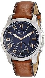 FOSSIL Q Grant / Smartwatch hybride homme sport - Cadran acier et bracelet en cuir brun - Compatibilité iOS et Android - Boîte et pile incluses
