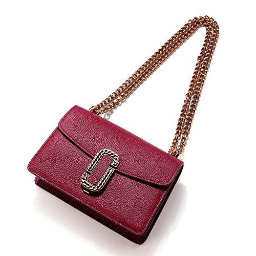 Mena Uk Sacchetti di spalla di Tote del sacchetto di catena di stile di cuoio casuale delle donne Vino rosso