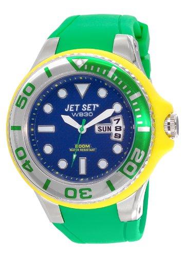 Jet Set J55223-13Wb30Diver–Watch Men–Quartz Analogue–Dial Blue Rubber Strap Green