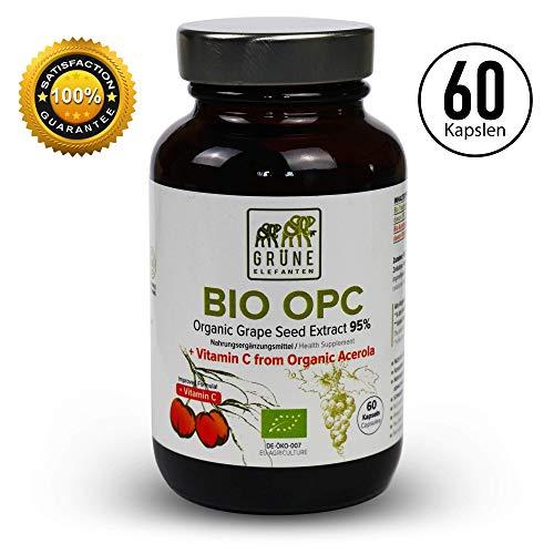 Grüne Elefanten\'s Bio OPC Traubenkernextrakt mit Bio Acerola Hochdosiert 2 Monatsvorrat - 390mg Kapseln Trauben aus Frankreich