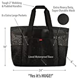 Odyseaco Oahu XL Mesh Beach Bag Tote, Extra Heavy Duty with Zipper, 8 Large Pockets and FREE Bonus Waterproof Mobile Phone Case (Black)