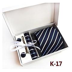 Idea Regalo - Pulchram Cravatta Uomo, Set di Tie Gemelli Fazzoletto Fermacravatta, Confezione Regalo per Uomo Padre K17