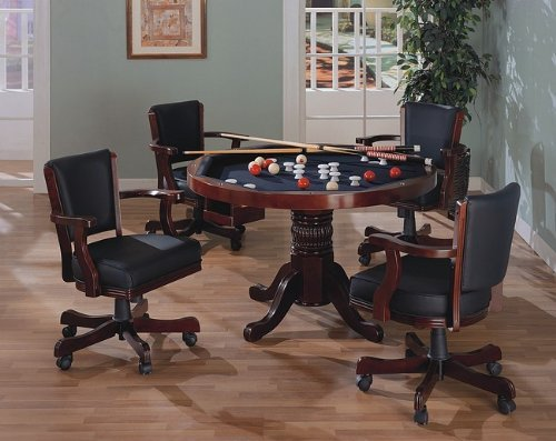 Three-in-One Cherry Finish Wood Dining, Poker, Bumper Pool Table with Chairs Set by Coaster Home Furnishings