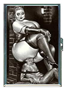 Big Woman Dominates Tiny Man Double-Sided Cigarette Case, ID Holder, Wallet with RFID Theft Protection