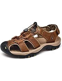 Hombres Playa Sandalias Transpirables Antideslizante Suave Cuero Plano Casual Zapatos de Verano Calzado Impermeable Sandalia Resistente