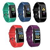 Smart fitsport Farbe Fitness Tracker HR, Farbe Bildschirm Activity Tracker mit Herzfrequenz Blutdruckmessgerät Schrittzähler Kalorienzähler Smart aatch Band Armband für Android und IOS Smartphone, ID115C Smart Watch Black