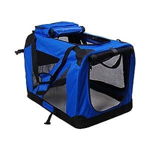 Homcom Cage de transport pliante, souple et portable pour chien et chat Bleu 69 cm Taille L