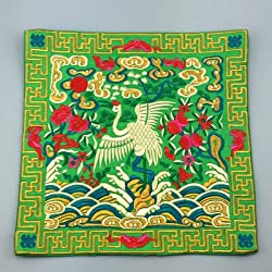 Generic Novelty Chinese Crane Pattern Dining Table Placemats Silk Fabric Square Waterproof non-slip Table Mat Embroidered protector Pad Green