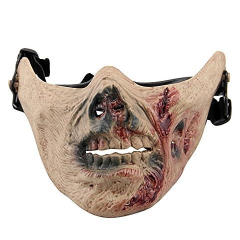 aiyuda Totenkopf Skelett Half Face Maske Hard Schutz Gear für Airsoft Paintball Jagd CS Planspiel Masquerade Kostüm Party Halloween, Herren, Zombie Blood