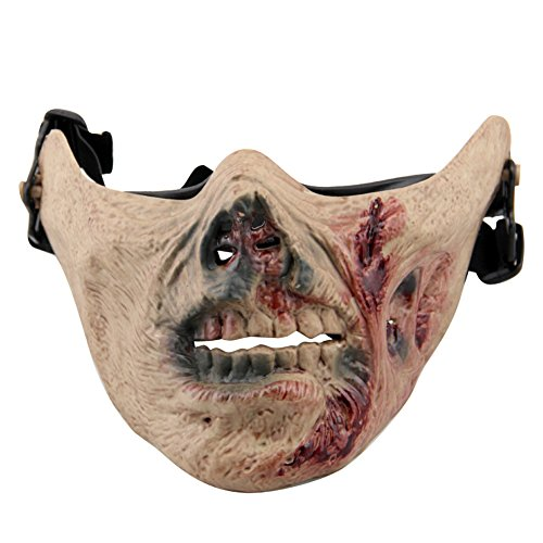 aiyuda Totenkopf Skelett Half Face Maske Hard Schutz Gear für Airsoft Paintball Jagd CS Planspiel Masquerade Kostüm Party Halloween, Herren, Zombie Blood