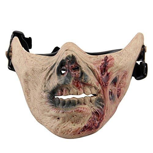 Aiyuda halbe Totenkopf-Gesichtsmaske aus hartem Material als Schutz bei Airsoft, Paintball und anderen Spielen oder für Masquerade, Kostüm-Partys und Halloween, Herren, Zombie Blood