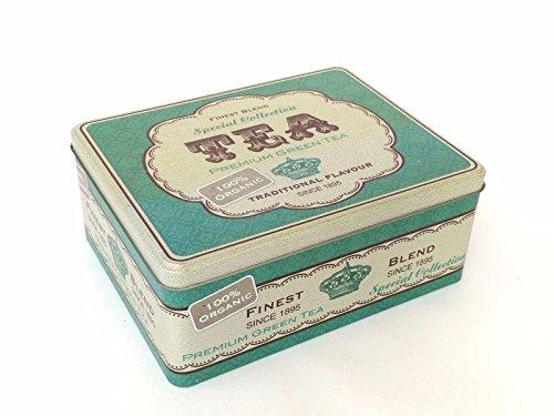 Metal té bolsa de almacenamiento lata Vintage estilo Retro cocina Caddy Soporte Caja verde