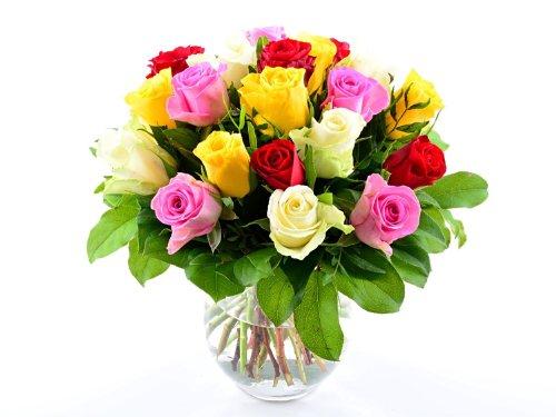 Express! Blumenversand – Blumenstrauß zum Geburtstag – 20 Stück bunt gemischte Rosen in guter Qualität! – mit Grußkarte deutschlandweit versenden