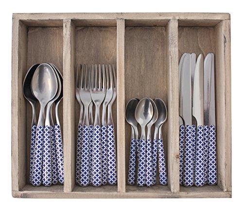 Provence rétro dîner Ensemble de Couverts en Acier Inoxydable, bac, Bleu, 33.5 x 29.5 x 6.5 cm