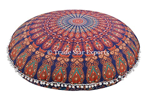 Groß Rund Mandala Kopfkissen 81,3 cm Indischen Boden Kissen, dekorativer Überwurf-, Roundie Pouf Polsterhocker, Boho kissenrollen, POM POM Außenkissenbezug