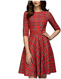 Piebo 2018 Todas Las Temporada Mujeres Damas Fashion Daily Party Slim Sexy Cuello Redondo Plaid Vintage Vestido de Dobladillo hasta la…