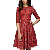MRULIC Damen Kleid Vintage Casual Halbarm Arbeitskleid Kariert Knielang Schlank Elegantes Kleid Ballkleider(Rot,EU-42/CN-XL)