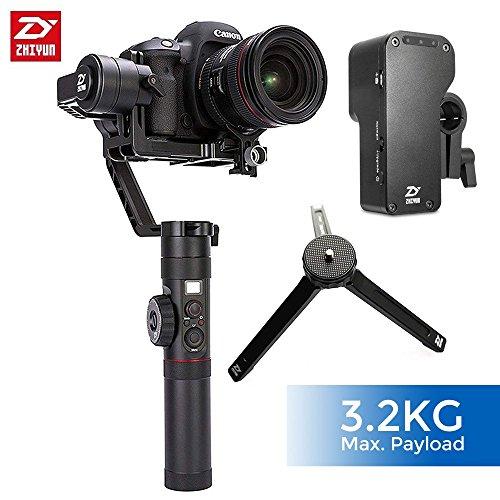 Zhiyun Crane 2 (2017 New Crane2), estabilizador de cardán de 3 ejes con pantalla OLED de 3 niveles Control de enfoque de 3 niveles para DSLR y cámara sin espejo de hasta 7 lb, es decir, Canon 5D2 / 5D3 / 5D4 / GH3 / GH4, Nikon D ( Negro)
