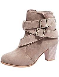 Sonnena Botas Martin de tacón alto - Botines de cuña para mujer Botines planos Zapatos de plataforma de tobillo