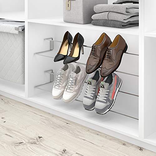 - Zapatero Extensible para Interior de Armario vestidor, Acero Cromo, 620-960