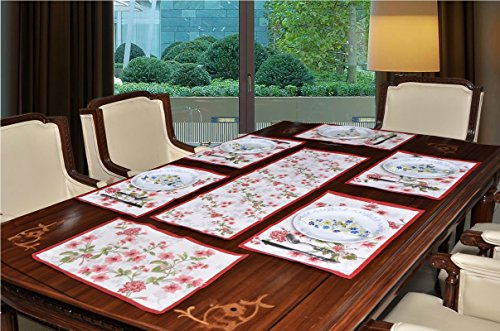 Avira Home Polycotton Blossom Table Mats And Table Runner Set, 6 Mats...