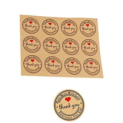 Kingsley 120 pz adesivi etichette adesive rotonde personalizzate thank you grazie handmade fatti a mano sticker tag per bomboniere cottura 3.8cm (10 fogli)