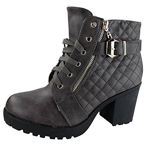 Damen Stiefeletten High Heels Boots gefüttert Stiefel Ankle ST847 Grau