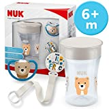 NUK Magic Cup & Set, Magic Cup Trinklernbecher, Space Schnuller & Schnullerkette, 6+ Monate, BPA-frei, Bär/Grau, 3 Stück