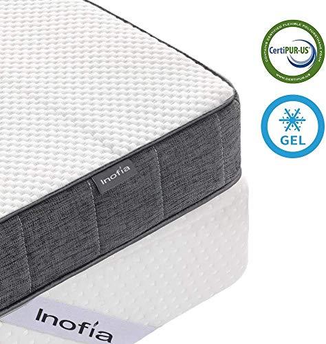 Inofia Matratzenauflage 90x200 Gelschaum Topper Matratzentopper Memory Foam Topper 2cm RG50 Gelschaum+5,5m Support Foam waschbar Bezug 100 Nächte Probeschlafen 10 Jahre Garantie(90 x 200 cm)