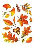 dpr. Fensterbilder Set 13-teilig - Herbst Blätter Ginkgo Eicheln Laub mit Glimmerelementen statisch selbsthaftend Fenstersticker Sticker Aufkleber