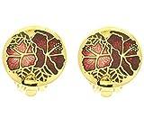 behave® Femmes Clip Vintage Fleur sur Boucles d'oreilles Fait de émail - Rouge - 1,5cm Taille